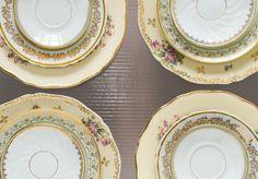 """Set of 12 mismatched porcelain dinner plates. Mismatched porcelain plates for a beautiful """"Shabby Chic"""" table."""