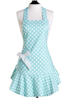 Layla Grace blue polka dot apron...cute! Maybe too cute to get all messy in the kitchen...
