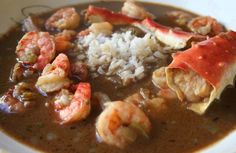 Gumbo is a Cajun stew almost always containing a dark roux and thickened with okra. In case you don& know Gumbo means okra. Gumbo usually contains a variety of vegetables, meats, seafood, or shellfish and is served over rice. Most Cajun& agree. Creole Recipes, Cajun Recipes, Seafood Recipes, Cooking Recipes, Gumbo Recipes, Crab Gumbo Recipe, Oven Recipes, Soup Recipes, Chicken Recipes