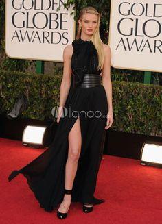 Modern Black Front Split Chiffon Rosie Huntington Golden Globe Dress. See More Golden Globe Dresses at http://www.ourgreatshop.com/Golden-Globe-Dresses-C903.aspx