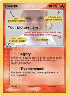 Personalized Pokémon Card - if Little Man ever wants a Pokémon bday, these would make PERFECT invites!!!!!