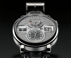 A. Lange & Söhne Zeitwerk Handwerkskunst from 2009.  The white gold dial has been black rhodium finished, something rare as usually rhodium finish is used to make metals (mostly white gold) look more shiny and white. The frosting is also something very rare and can only be found on a hand-full of watches.