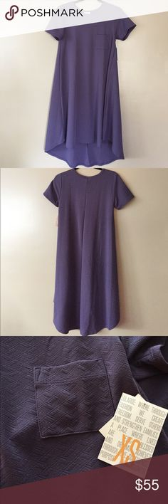 NWT LuLaRoe XS Carly This Carly will comfortably fit someone who is a size Small or Medium. It is about a mauve or iris purple and is a textured material (not jacquard). Plenty of stretch in this with material made of 95% polyester and 5% spandex. Bundle and save! 😍😍 LuLaRoe Dresses