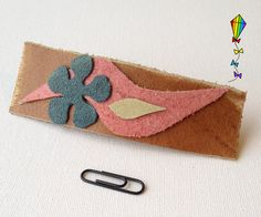 Large Hair Clip made from Reclaimed Leather  April by StripyKite