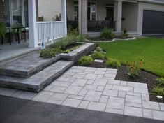 Designing a front yard is usually about accessibility and invitation. We spend hardly any time in the front yard as […] Front Driveway Ideas, Front Walkway Landscaping, Front Patio, Front Garden, Front Walkway, Front Walk, Hardscape, Asphalt Driveway, Front Steps