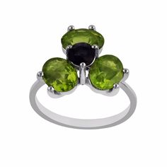 !Variation Rings! Natural Gems studded 4 Stone Sterling Silver Ring for Easter #Unbranded #FourStone