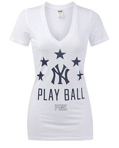 VICTORIAS SECRET LOVE PINK NEW YORK YANKEES V-NECK T-SHIRT LARGE WHITE PLAY