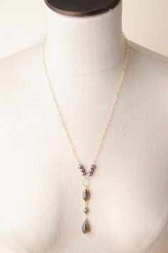 Unique handmade moonstone pearl gold dangle pendant necklaces for women are made in America in our Floyd Va studio
