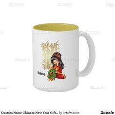 Happy Chinese New Year. Chinese Little Girl with Dragon design Gift Mugs for kids with personalized kid's name. Matching cards, postage stamps, traditional red envelopes and other products available in the Chinese New Year Category of the artofmairin store at zazzle.com