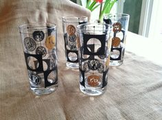 Set of 4 Libbey Tall Glasses with Black and Gold Coins