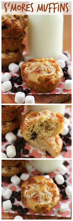 S'mores Muffins ~ Yummy, Delicious Muffins Stuffed with Marshmallows, Chocolate and Graham Crackers! Perfect way to start the morning!