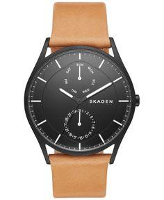 Skagen Men's Holst Natural Leather Strap Watch 40mm SKW6265