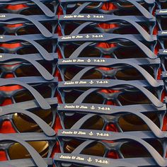 Navy Wedding Sunglasses With White Print Waiting For Quality Control Inspection These Make Great