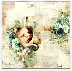Scrapbook Tendance: Shabby Baby Layout found at Scrapbooktendance.blogspot.fr ~ Baby Layouts