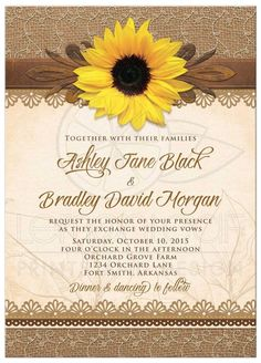 Rustic sunflower wedding invitation from @lemonleafprints
