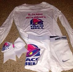 cheer_things_bucketlist - Have food themed cheer gear! do you like taco bell comment below please or you can comment your favorite food. Cheer Practice Outfits, Cheer Outfits, Sporty Outfits, Nike Outfits, Athletic Outfits, Cheer Clothes, Teens Clothes, Athletic Clothes, Friend Outfits