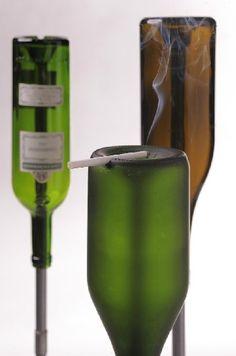 Bottoms Up Glass Wine Bottles Ashtrays