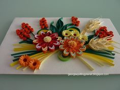 Quilling Frame - Summer Flowers on Ivory Background