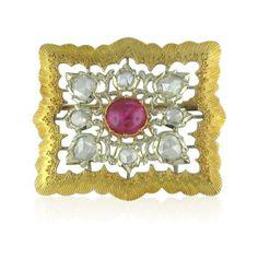 Vintage Buccellati 18k Gold, Diamond and Ruby Brooch