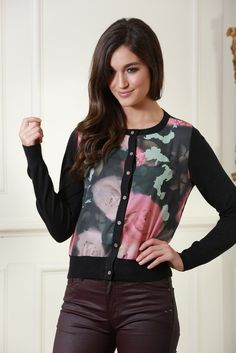 Imogen Black Cardigan with Rose Print Panel on Front