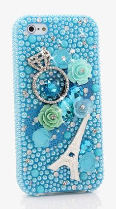Bling Crystals Phone Case For IPhone 6 / 6s / 6 PLUS - Diamond ring and Eiffel tower design