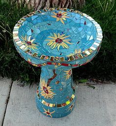 Mosaic Bird Bath Sunflowers by MosaicRenaissance on Etsy, $495.00