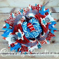 Dr. Seuss stacked boutique bow, The Cat in the Hat, hair bow, bow, Dr. Seuss birthday, over the top