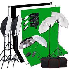 BPS Profi 900W Fotografie LED-Anzeige Studioblitz und 250W Dauerlicht Shirm Studio Set inkl. 3*300W Blitzlampen Synchronblitzlampe + 5500K 2x125W Dauerlicht Fotolampe + Schirm + Softboxen + Auslöser + 2 x 3m Hintergrundsystem + 1,8x 2.8m 100% Baumwolle Hintergrundstoff Weiß Schwarz Grün Screen +Tragtasche - http://kameras-kaufen.de/bps/900w-blitz-500w-dauerlicht-set-bps-profi-250w-set-2