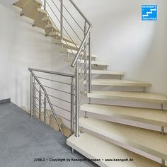 KENNGOTT-TREPPE Stairs Coloradobeige self-supporting KENNGOTT STAIRCASE, steps Coloradobeige (Agglormarmor), railing Terzo curved with 4 or 6 knee rails and supporting parts in stainless steel. More information under www.de Source by marihoe Stairs Colours, Colorado, Stainless Steel, Home Decor, Ladders, Verandas, Stone Steps, Stone Stairs, Flooring Ideas