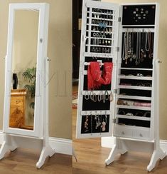 I love this idea for a mirror and a jewelry organizer.  But where could it be placed?  (Hanged somewhere, not taking up floorspace like here)
