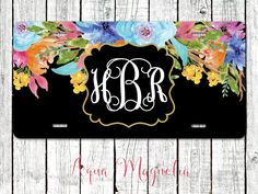 Watercolor Flowers - Personalized - License Plate - Monogrammed by AquaMagnolia…