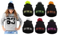 Knitted Beanie Winter Mens Womans Wooly Ski Turn Up Hat Pompon Bad Hair Day NEW in Clothes, Shoes & Accessories, Clothes, Shoes & Accessories | eBay