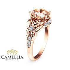 This is seriously the most beautiful ring I could pick. (10/19/15 RS) - 14K Rose Gold Engagement Ring Oval Morganite by CamelliaJewelry