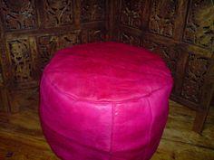 Moroccan Pink Fushia Leather Pouffe