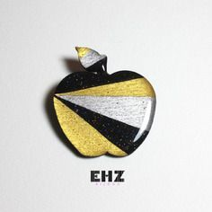 Ehz bijoux broche bijou pomme géométrique noire et or