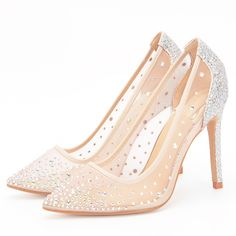 aebb2d7fcbd3 Stylesowner Hottest Lady Sexy Wedding Shoe Transparent Mesh Diamond Bling Shoes  Pointed Toe Sequins Party High