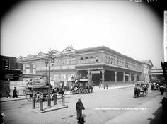 Waterloo Station, York Road, Lambeth, London, The exterior of Waterloo Station with horse-drawn vehicles in the foreground. The station dates from 1853 but the buildings seen here were demolished and the whole station re-built between 1900 and Vintage London, Old London, East London, London City, London History, British History, Local History, Family History, Old Pictures