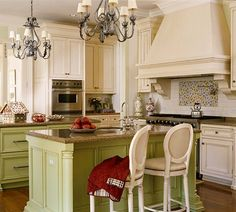 Green and cream cabinets