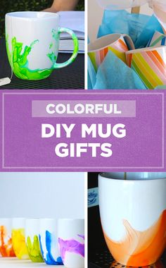 These colorful DIY mugs are easy to make for all your friends!