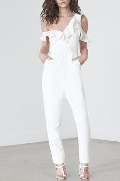 70559b81c2b0 Give your wardrobe a touch of new season elegance with our tailored frill  jumpsuit in soft. Shoptiques