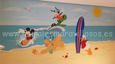 Mural infantil playa surf personajes Disney Minnie, Madrid, Disney Characters, Fictional Characters, Daisy, Surfing, Painting, Ideas, Art
