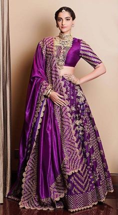 Lehenga Colour Combinations For Winter Brides! Sonam Kapoor in eggplant lehenga. See more on See more on Designer Bridal Lehenga, Bridal Lehenga Choli, Lehenga Wedding, Indian Bridal Outfits, Indian Bridal Fashion, Indian Designer Outfits, Indian Lehenga, Red Lehenga, Purple Lehnga