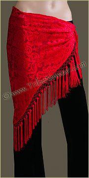 Tribe Nawaar Red Victorian Burnout VelvetBeaded Belly Dance Hip Scarf