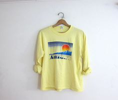 Vintage yellow Arizona tee shirt / long sleeve tshirt with sunset over mountains
