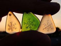 Christmas Charms  Set of Natural Seaglass by MoreThanSeaGlass