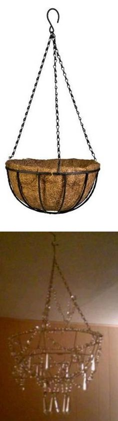 DIY Chandelier made from hanging planter