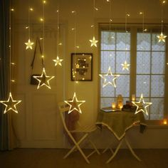 Buy 12 Stars 138 LED Curtain String Lights - Window Curtain Lights with 8 Flashing Modes Decoration Christmas - Wedding - Party - Home - Patio Lawn - Warm White - Star Lights - Warm White - and Find More Indoor String Lights enjoy up to off. Led Star Lights, Star String Lights, Indoor String Lights, Summer Decoration, Decoration Christmas, Christmas Lights, Wedding Decoration, Christmas Trees, Beach Christmas