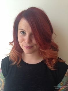 women redhead ginger copper ombre hairstyle