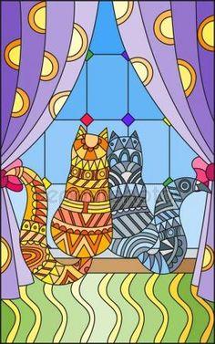 Скачать - Иллюстрация в стиле Витраж с шторы и две кошки на подоконнике — стоковая иллюстрация #148137003