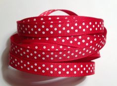 9mm Christmas Print Ribbon Large White Dot on Red